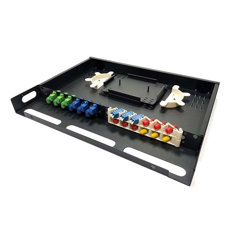 1U 24 Port Fiber Optic Distribution Frame, Metal Tray, Arch Shaped