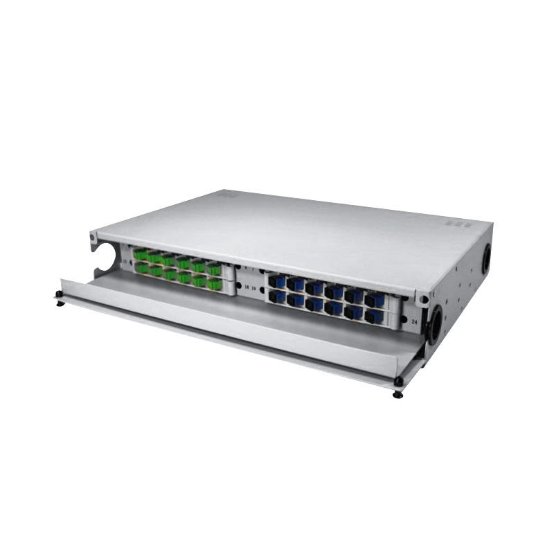 Drawer Type 1.5U 24 Port Fiber Optic Distribution Frame, 12 Cores Tray, Arch Shaped