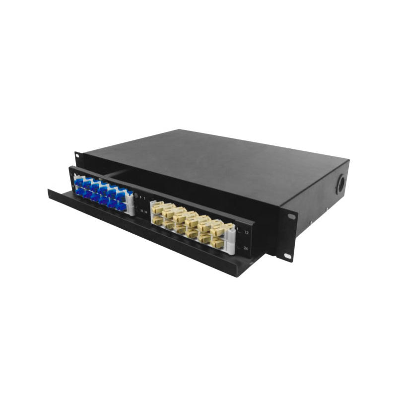 Drawer Type 1.5U 24 Port Fiber Optic Distribution Frame, 12 Cores Tray, Arch Shaped, Black