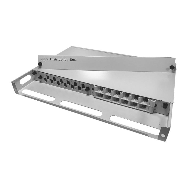 1U 24 Port Fiber Optic Distribution Frame, 12 Cores Tray, Arch Shaped