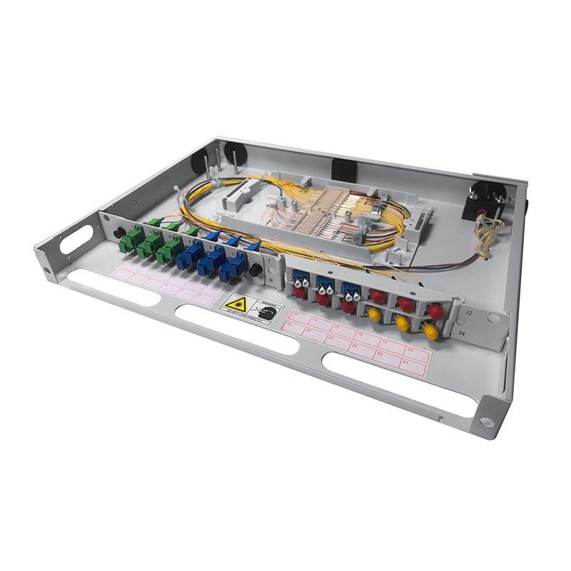 1U 24 Port Fiber Optic Distribution Frame, 24 Cores Tray, Threaded Stem Type
