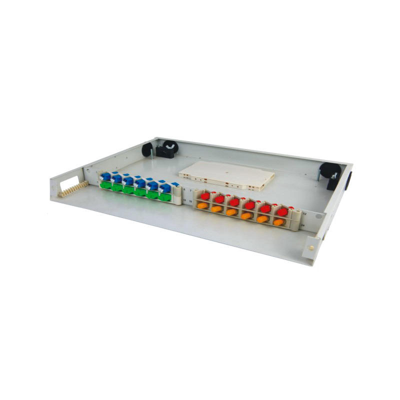 1U 24 Port Fiber Optic Distribution Frame, 12 Cores Tray, Threaded Stem Type