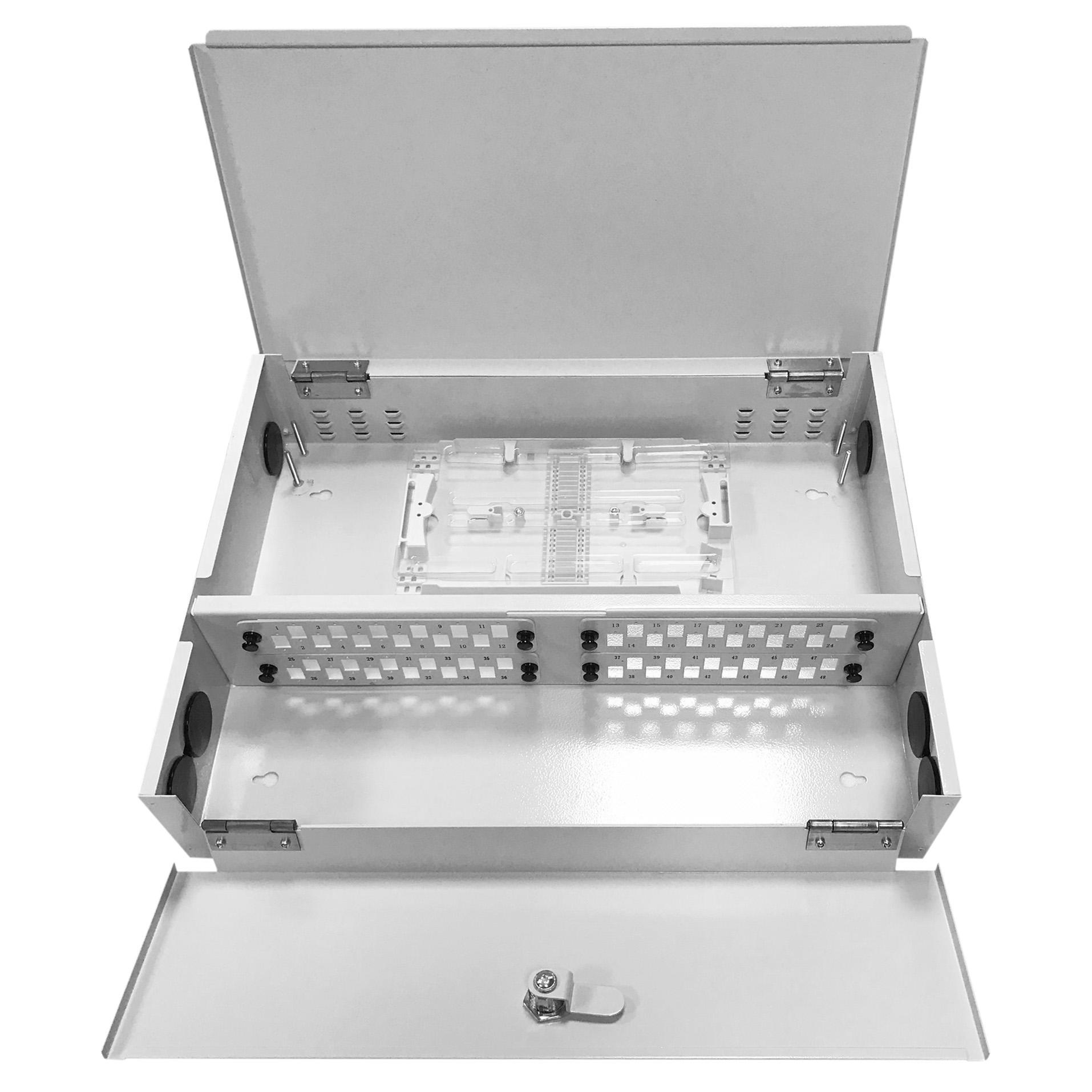 48 Port WODF Fiber Optic Distribution Box, 24 Cores Tray, Threaded Stem