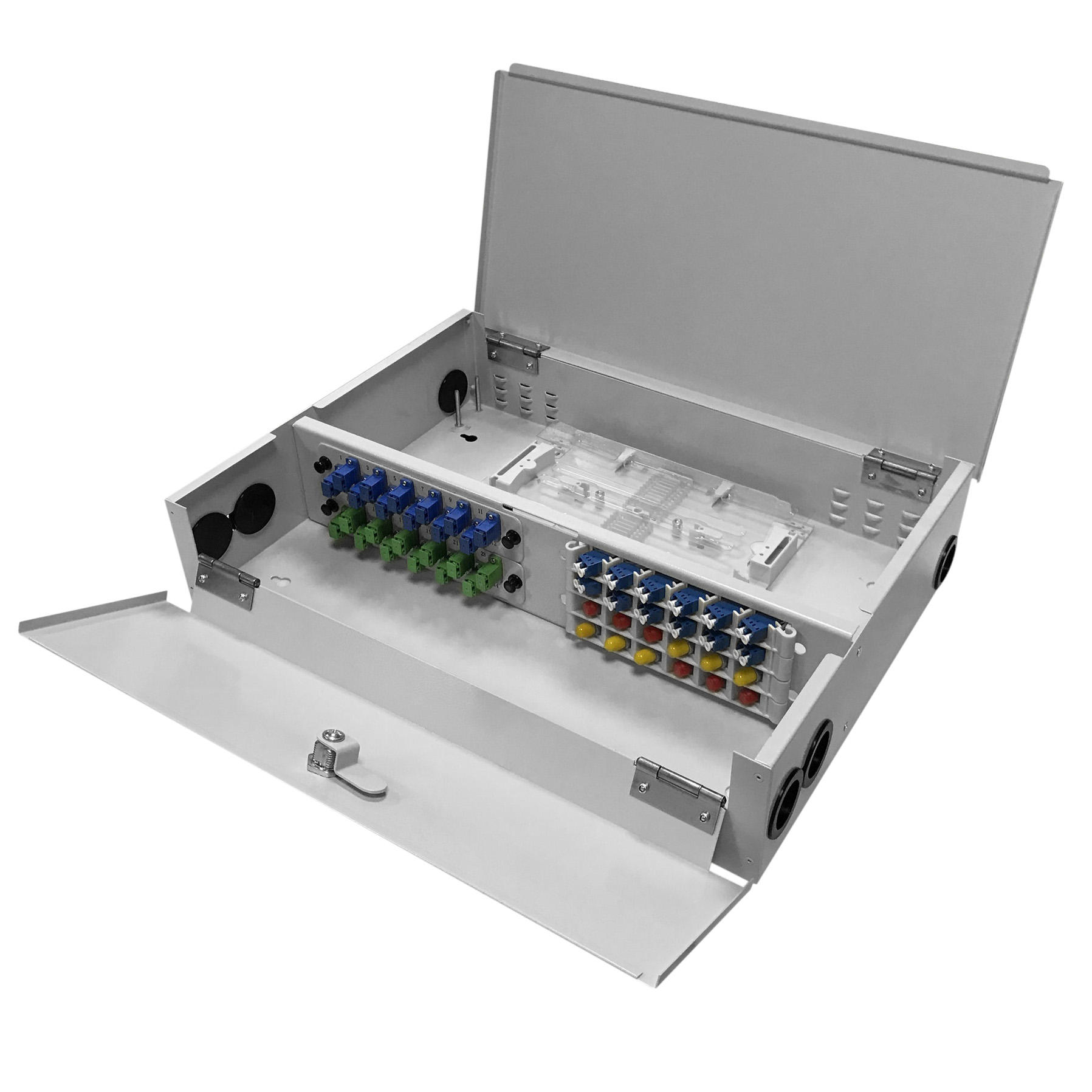 48 Port WODF Fiber Optic Distribution Box, 24 Cores Tray, Threaded Stem